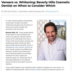 Beverly Hills cosmetic dentist compares porcelain veneers and teeth whitening and explains which treatment can be more beneficial for your smile goals.